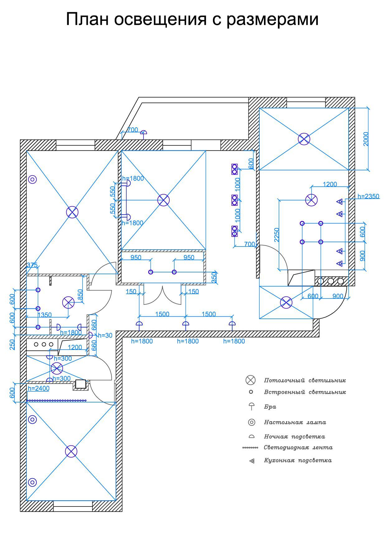 5. План освещения с размерами