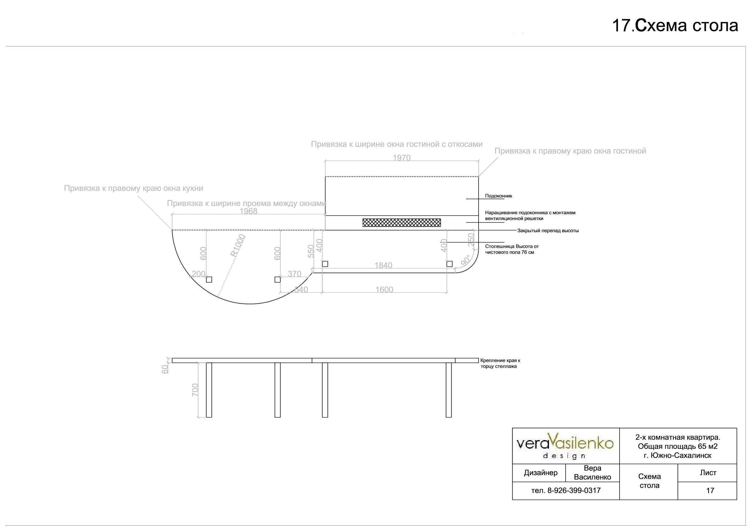 17. Схема стола